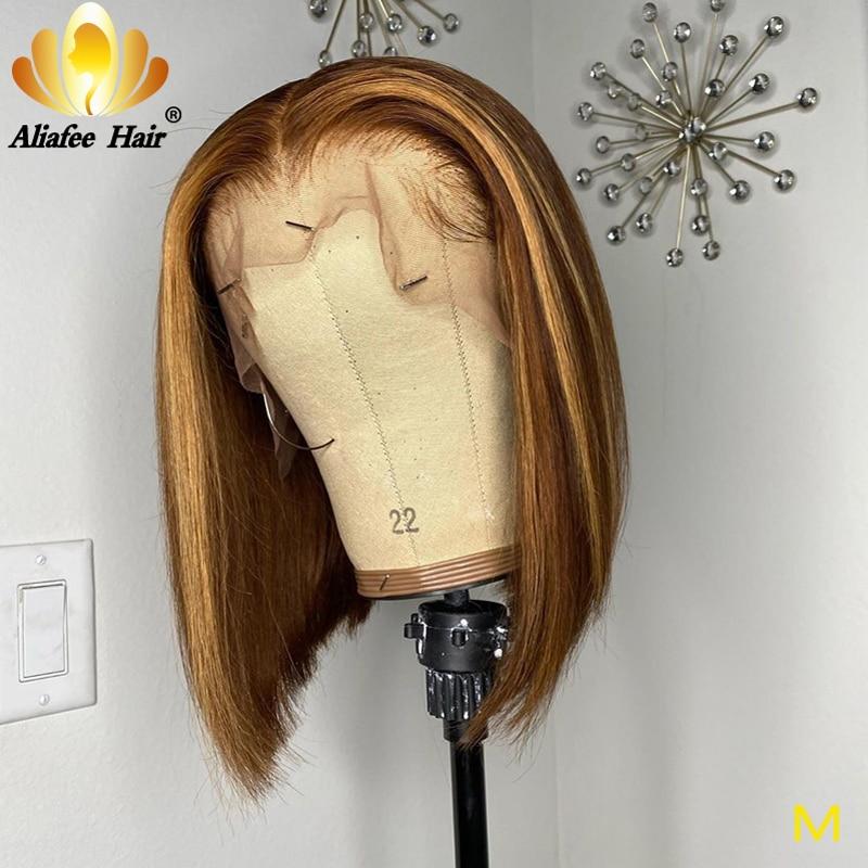 Aliafee Short Bob Wigs Lace Front Wigs 13x4 Human Hair Wigs Peruvian 150% Density Remy Ombre Bob Honey Blonde Bob Wig For Women
