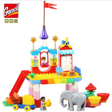 GOROCK 1052 Happy Valley Big Building Block Set 80Pcs Educational Bricks Toys For Christmas Gift For Baby Compatible With Duploe(China)