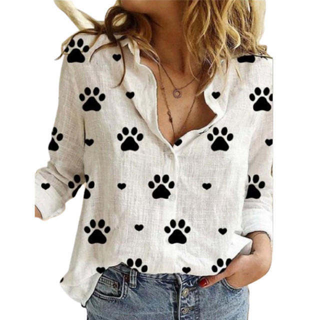 Cute Paw Print Printing Lapel Long Sleeve Women's Shirt Spring Autumn New Cardigan Casual Button Ladies Blouse Ropa De Mujer 1