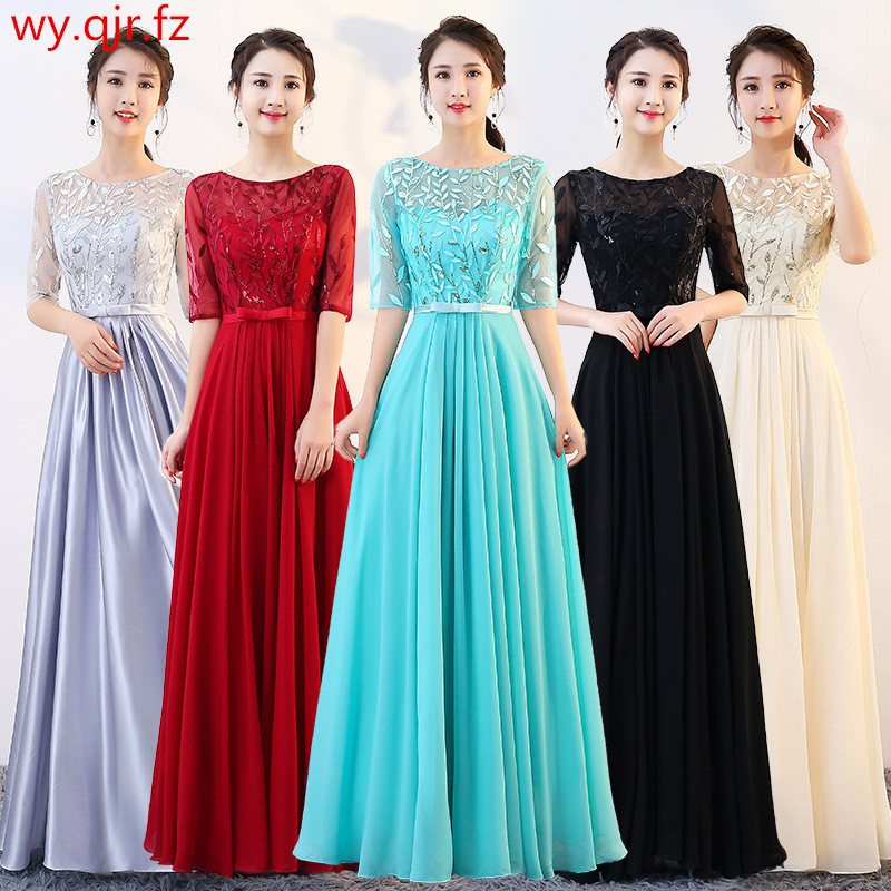 BSHS-11#Chiffon Bridesmaid Dresses Long Wine Red Silver Gray Blue Champagne Graduation Wedding Party Dress Wholesale Christmas