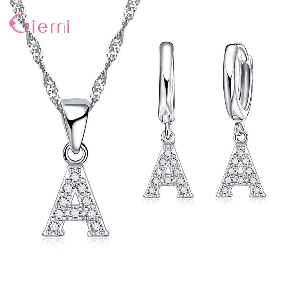 Top Sale 26 English Letters Pendant Necklace Earrings 925 Sterling Silver Sparkling CZ Jewelry Sets For Women Girls Birthday