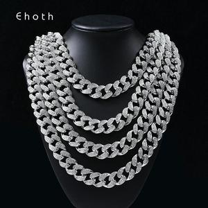 Image 1 - Hip Hop Miami Curb Cuban Chain Necklace 2cm Gold Silver Color Iced Out Paved Rhinestones CZ Bling Rapper Necklaces Men Jewelry