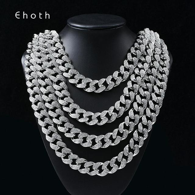 Hip Hop Miami Curb Cuban Chain Necklace 2cm Gold Silver Color Iced Out Paved Rhinestones CZ Bling Rapper Necklaces Men Jewelry