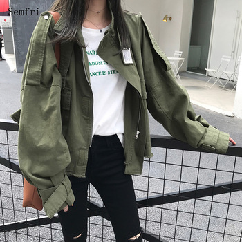 Semfri 2020 Spring Autumn Cotton Womens Jacket New Korean Version Short Windbreaker Female Loose Lon