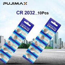 PUJIMAX 10Pcs Original ใหม่แบตเตอรี่ CR2032 3 V ปุ่มเซลล์แบตเตอรี่สำหรับของเล่นนาฬิกาคอมพิวเตอร์ของเล่นรีโมทคอนโทรลควบคุม CR2032