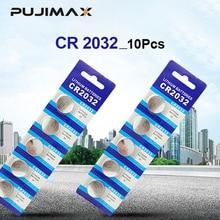 Pujimax bateria nova marca original cr2032 3v, 10 pçs de bateria cr2032 tipo moeda, baterias para brinquedos de computador e brinquedos com controle remoto controle cr2032