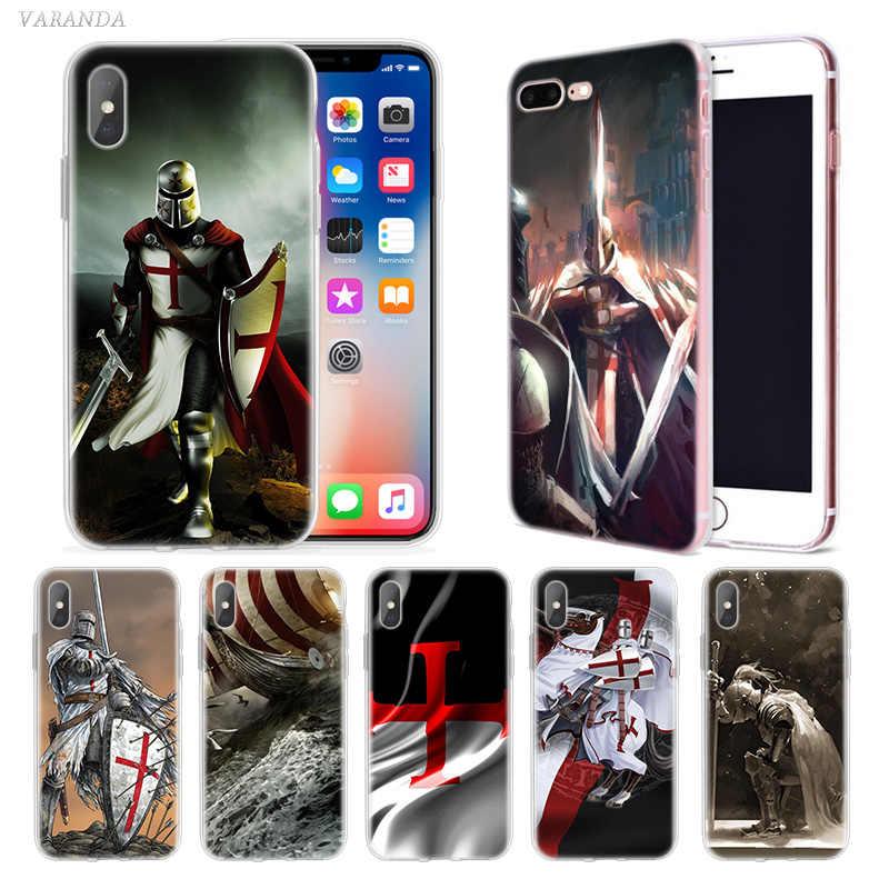 Templer Ritter Fall für iphone XS Max XR X 10 7 7S 8 6 6S Plus 5 5SE 5C 6 + 7 + 8 + Weiche Silikon Luxus Telefon Abdeckung Fundas Capa