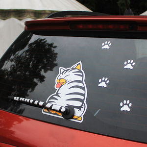 Image 1 - KAWOO Waterproof Car Stickers Cartoon Funny Moving Tail Cat Stickers Car Styling Window Wiper Decals Rear Windshield Sticker