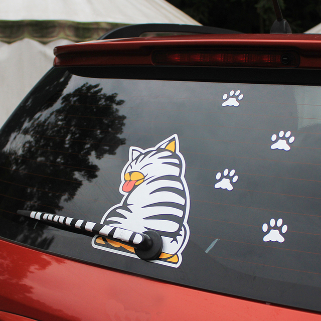 KAWOO Waterproof Car Stickers Cartoon Funny Moving Tail Cat Stickers Car Styling Window Wiper Decals Rear Windshield Sticker