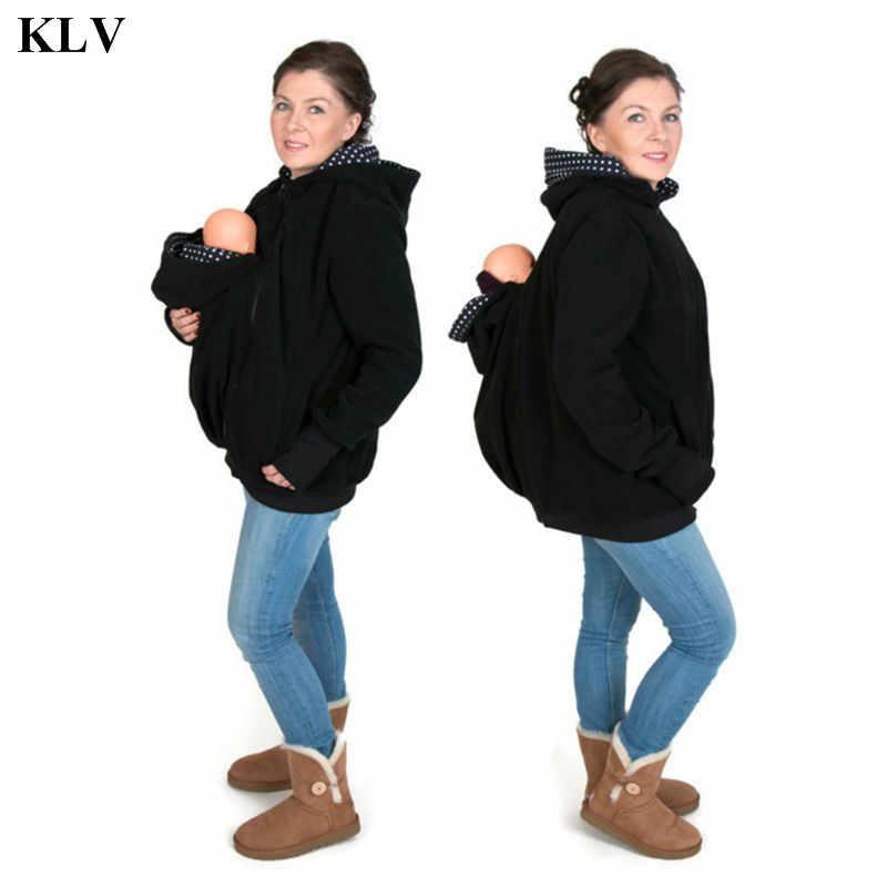 KLV Hände Freies Parenting Kind Frau Känguru Hoodies mit Baby Träger Winter Schwangere Sweatshirts mit Eltern Kind