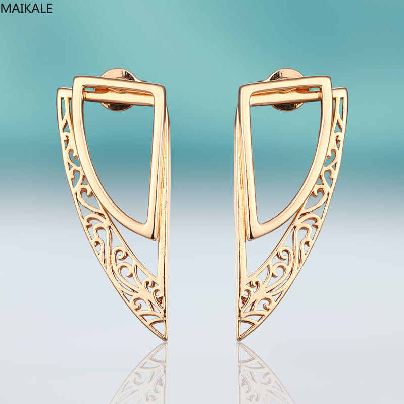 MAIKALE Fashion Angel Wing Stud Earrings For Women Copper Gold Earrings Simple Big Earrings Exquisite Jewelry Wedding Party Gift