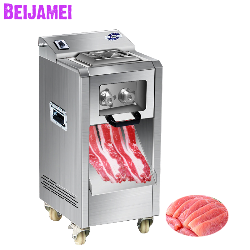 BEIJAMEI High-efficiency Electric Meat Slicing Machine Commercial Meat Cutter Slicer 2200W Single Double Cutting