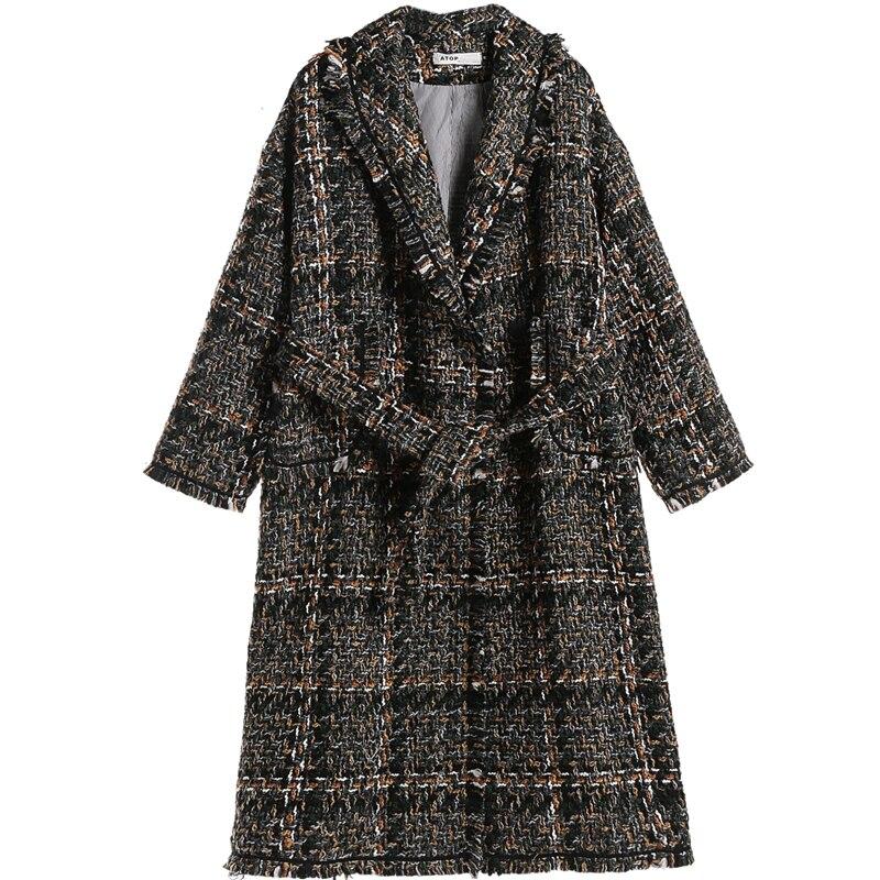 Plaid laine manteau femmes hiver coréen gland cachemire veste Vintage Chic laine pardessus épais coton rembourré Plaid Long manteau