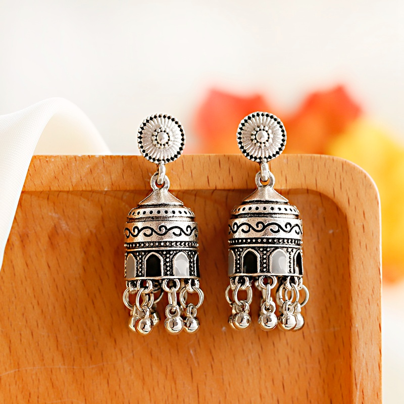 H0d135242c40340f1b5bbb613634afdfeW - Retro Bollywood Oxidized Womens Jewellery Ethnic Silver Plated Afghan Bell Tassel Drop Jhumka Indian Earrings Wedding Jewelry