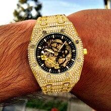 MISSFOX Design marka luksusowe męskie zegarki automatyczny złoty zegarek biznesowy mężczyźni stalowy przezroczysty mechaniczny zegarek męski nowy