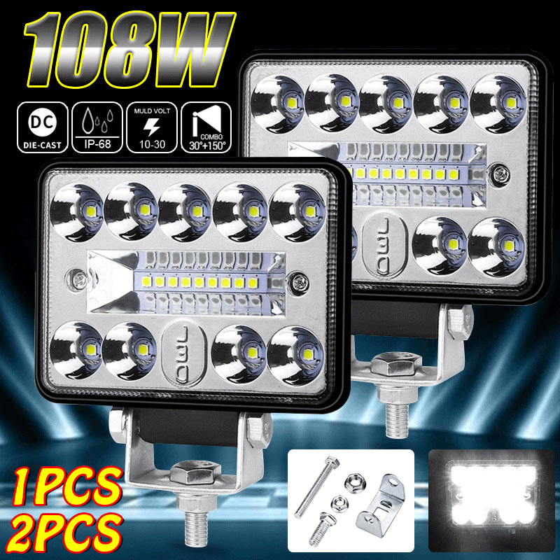 3 Inch LED Work Lights 12V 24V 54W Universal LED Light Bar For Truck Offroad Boat Car Tractor SUV 6000K White Combo Flood Spot