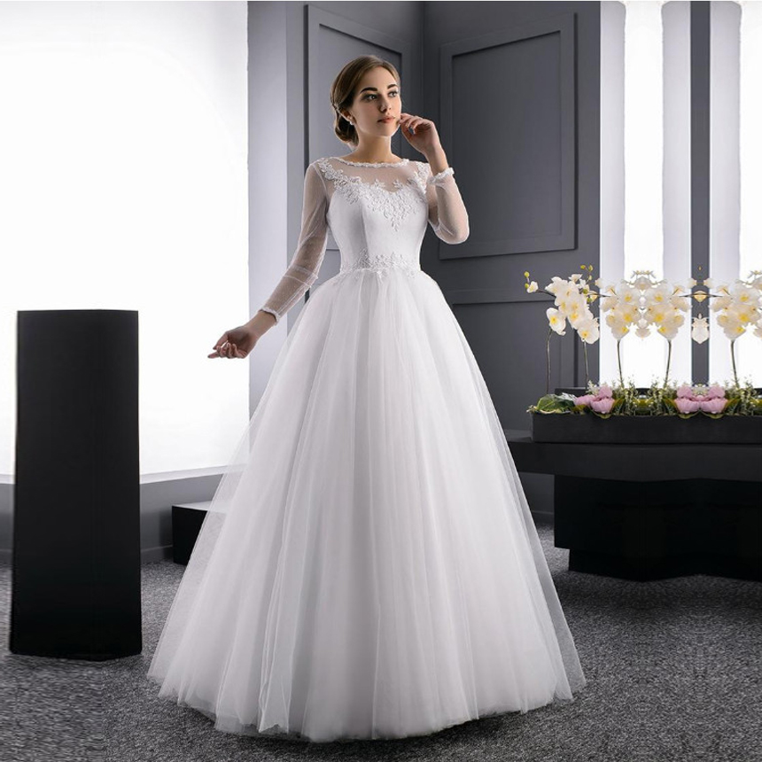 Alluring Tulle Long Sleeves O-neck Neckline A Line Natural Waistline Wedding Dress Lace Up Wedding Gowns Sleeveless Floor Length