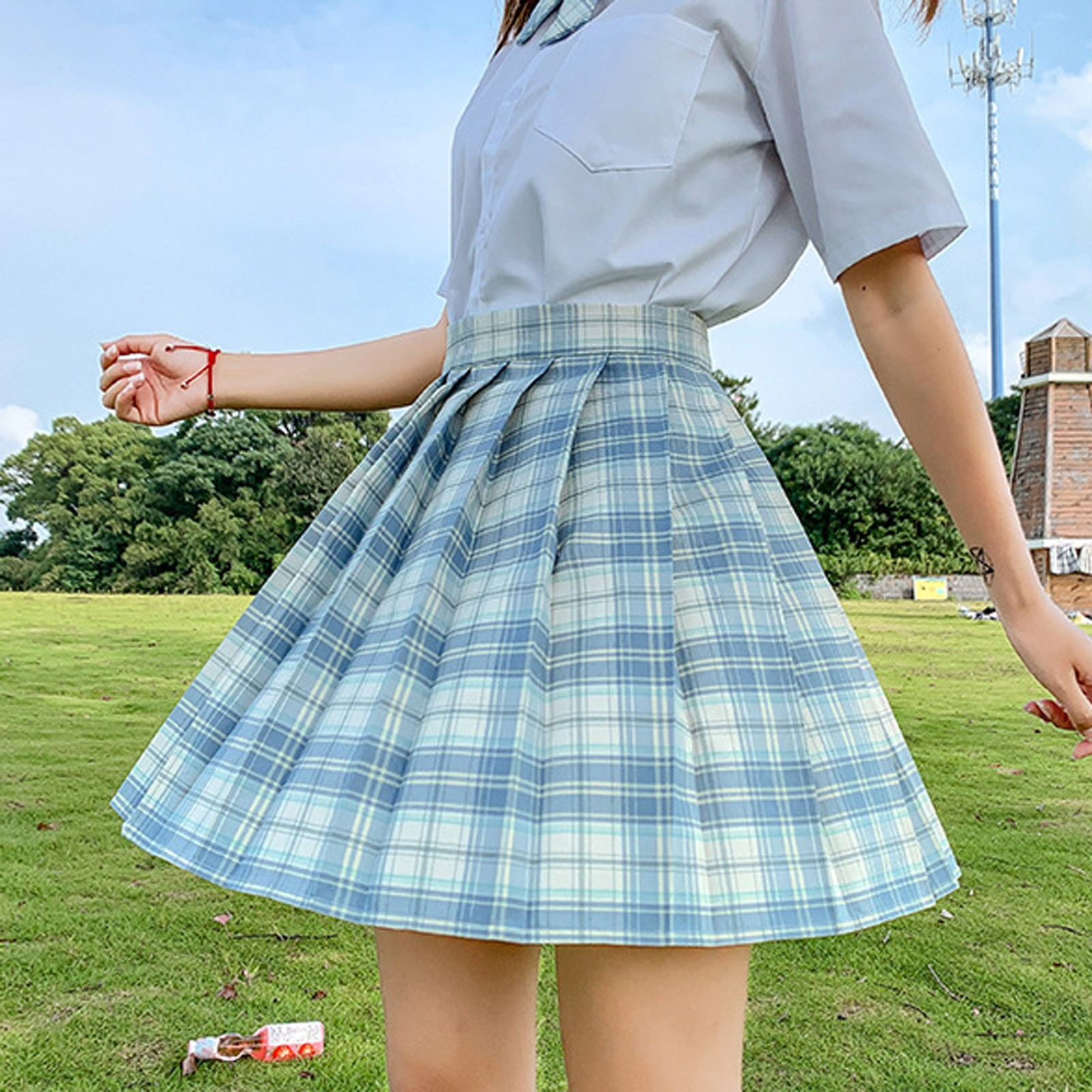 New Women Fashion Casual School Plaid Uniform Skirt Pleated High Waist Skirt Academic Style A-line Mini Skirts Mujer Faldas