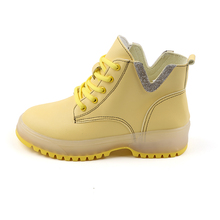 YeddaMavis Boot Yellow Motorcycle Boots Women Shoes New Wild British Style PU Lace Up Womens Woman