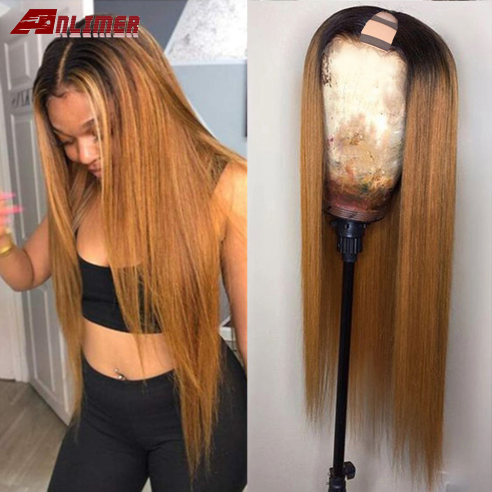 T#1B/27 U Part Human Hair Wigs Brazilian Straight Human Hair Wigs Ombre Color Glueless U Part Blonde Hair Wigs For Women