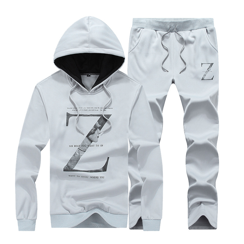 MEN'S Sport Suit Spring And Autumn Hooded Two-Piece Hoodie Suit Couples Athletic Clothing Casual Printed Hoodie Suit