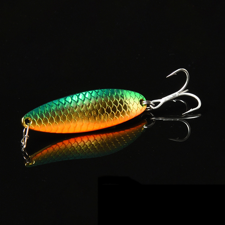 Bassland Spinnerbait Fish Scale Spoon Artificial Hard Lure Leech Fishing Bait 5g 10g 15g Creek River Freshwater Lures Trout