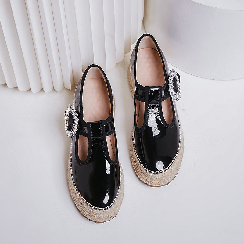 Image 2 - Womens real leather t strap platform flats loafers leisure soft 