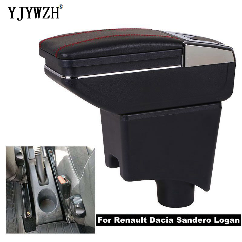 Boîte d'accoudoir pour Renault Dacia Sandero Logan USB charge augmenter le cendrier de contenu de magasin central Double couche dans les accessoires de voiture