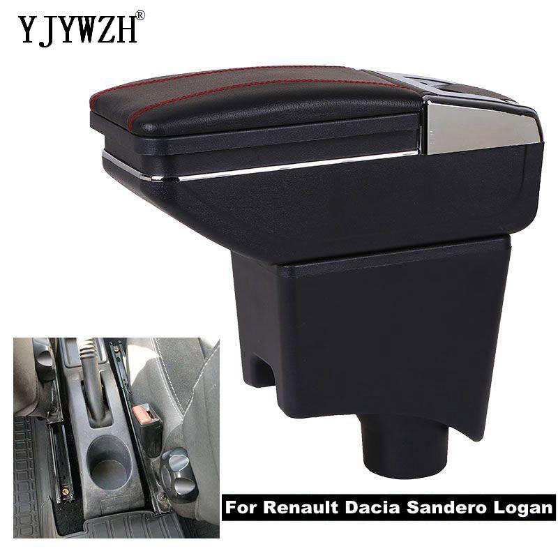 Renault Dacia Sandero Logan USB 충전을위한 팔걸이 상자 자동차 액세서리의 이중 레이어 중앙 저장소 내용 재떨이 높이기