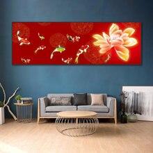 Красный фон цветы Карп пейзаж Картина китайский стиль настенные