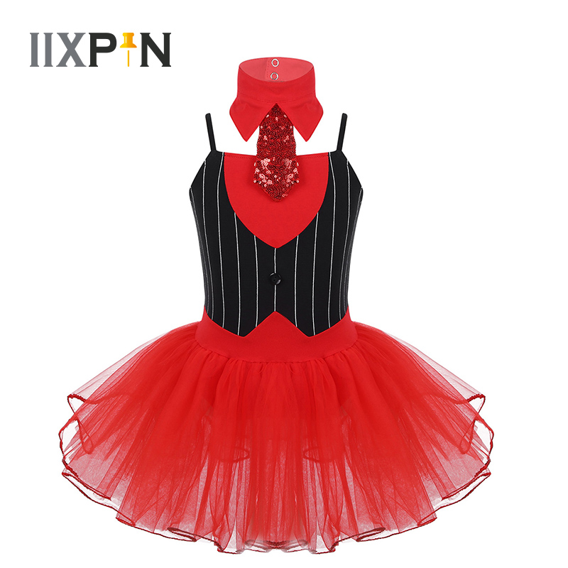 Girls Jazz Dance Costume Christmas Wear Spaghetti Shoulder Straps Striped Bodice Ballet Dance Gymnastics Leotard Mesh Tutu Dress