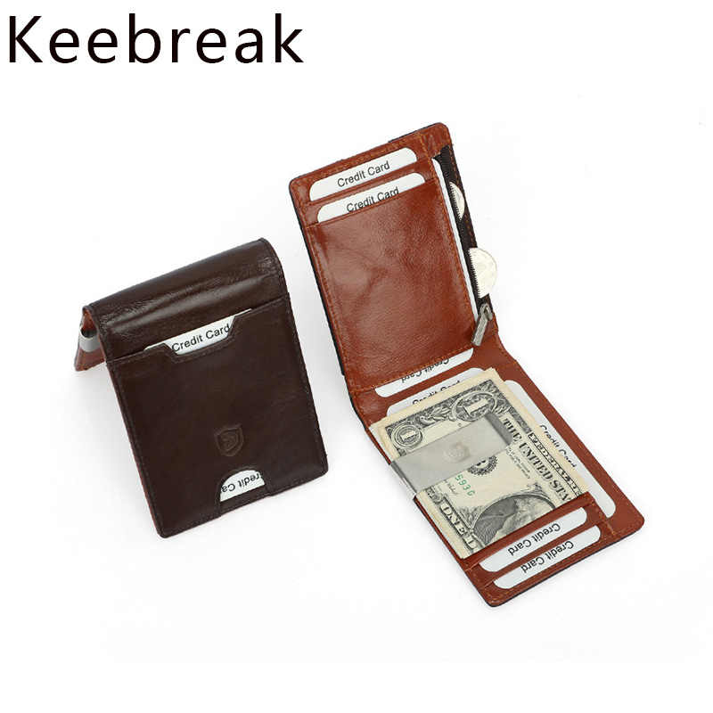 Real Genuine Leather Wallet For Men Card Holder Rfid Short Slim Thin Walet Anti-theft Cardholder Carteira Antifurto Porte Carte