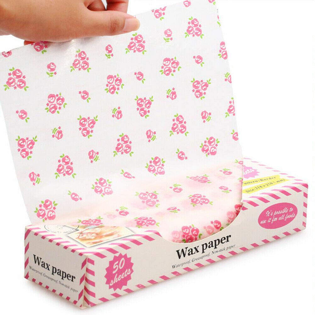 New Fashion Hamburger Bread Wax Paper Food Disposable Sandwich Wrapper Wax Paper 50pcs