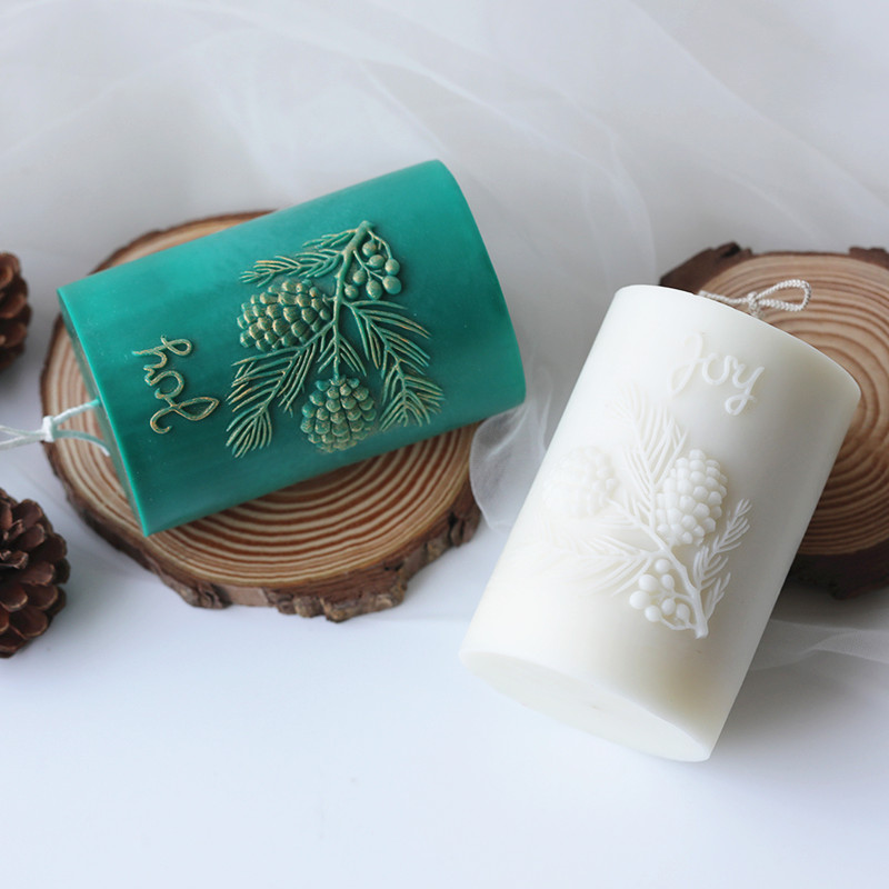 Creative Cylindrical Candle Mold for Candle Making Means Harvest Pine Cone Relief DIY Material for Blessing Aroma candle Mold