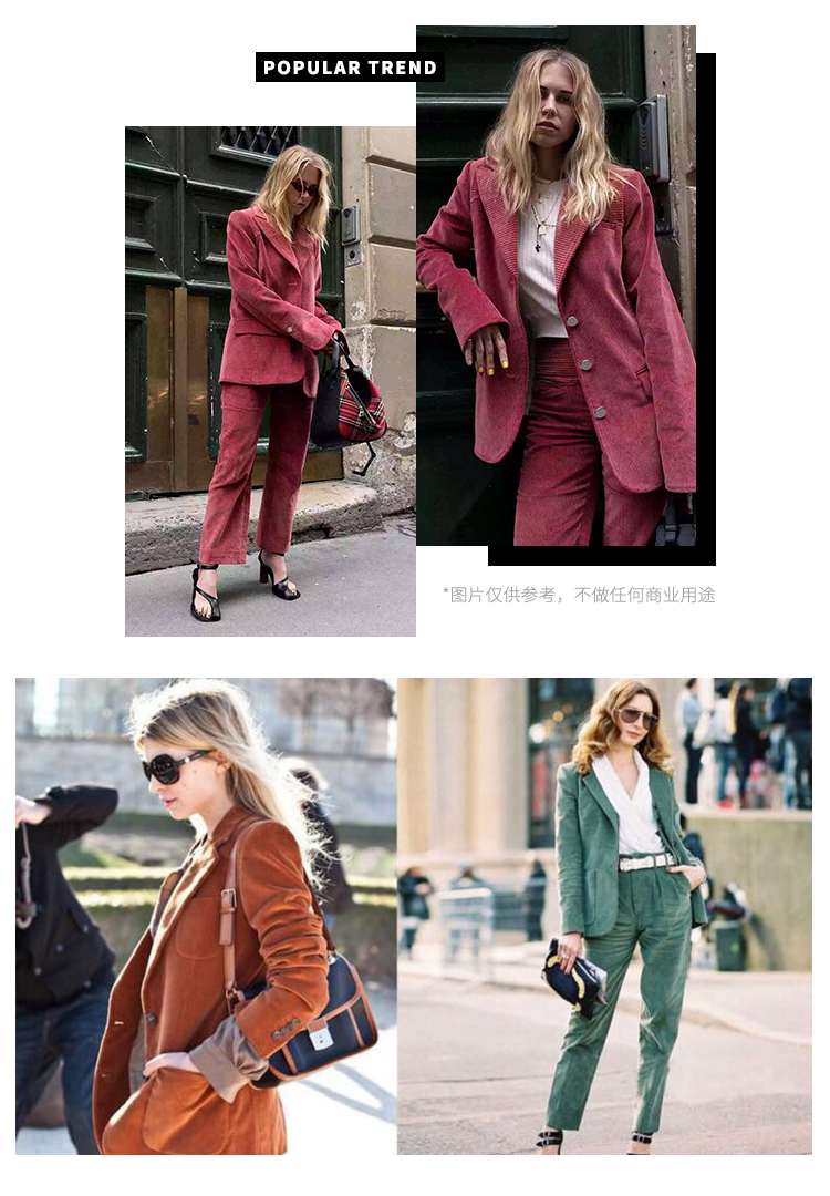 Autumn Winter Blazer Pants Suit Women Korean Chic Fashion Office Ladies Green Corduroy Casual High Waist Small Feet Pants Suit 53