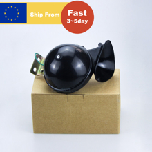 300db 12/24V Black Electric Snail Horn with Metal Installation Bracket Compact Design Raging Sound for Car Motorcycle Truck Boat