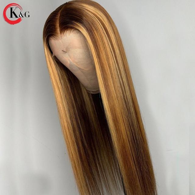 """Pelucas de cabello humano KungGang con frente de encaje destacado 13*4 13*6 pelucas de malla con división profunda con pelo de bebé 8 """"-24"""" Proporción media brasileña no Remy"""