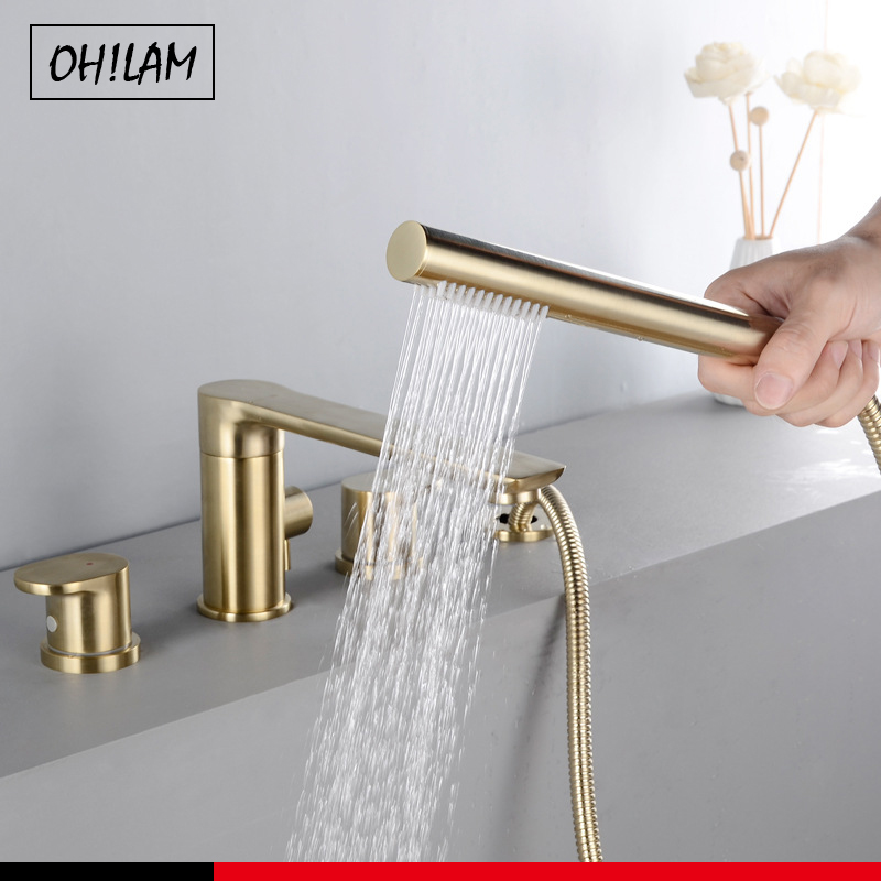 Brush Gold Deck Mount Roman Tub and Shower Trim Kit with Single-Spray Shower Head 3&4 Hole Bathroom Waterfall Bathtub Faucet