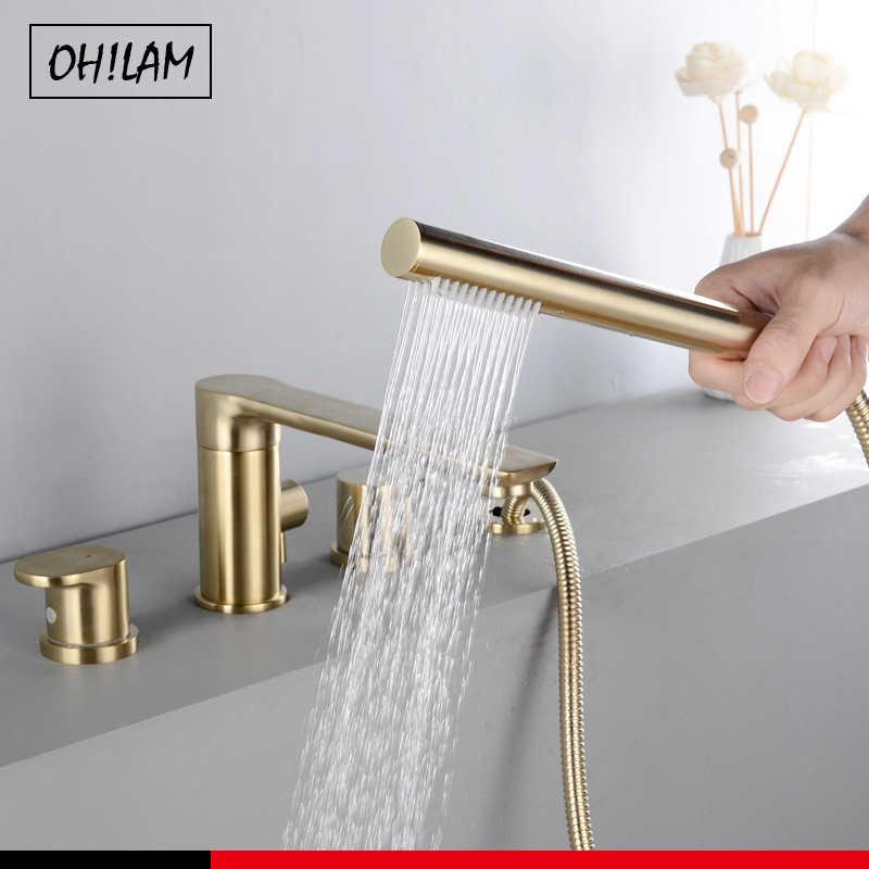 brush gold deck mount roman tub and shower trim kit with single spray shower head 3 4 hole bathroom waterfall bathtub faucet