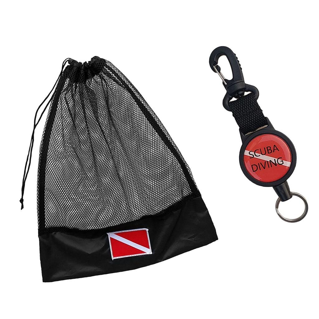 Scuba Diving Gear Keeper Retractor Retractable Clip Holder & Mesh Bag Pouch Diving Gear Hook Mesh Bag for Water Sports