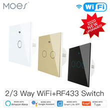 NEW Upgraded WiFi Smart RF433 Touch Switch 2/3 Way Smart Life/Tuya App Control,Alexa Google Home Voice Control 1/2/3 Gang