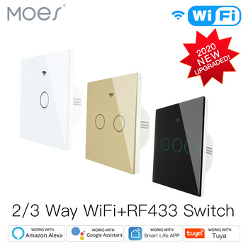 NEW Upgraded WiFi Smart RF433 Touch Switch 2/3 Way Smart Life/Tuya App Control,Alexa Google Home Voice Control 1/2/3 Gang kamanni wifi touch light switch google home control 2 gang 1 way black golden white grey 4 colors optional 1 2 3 gang 1 way 220v