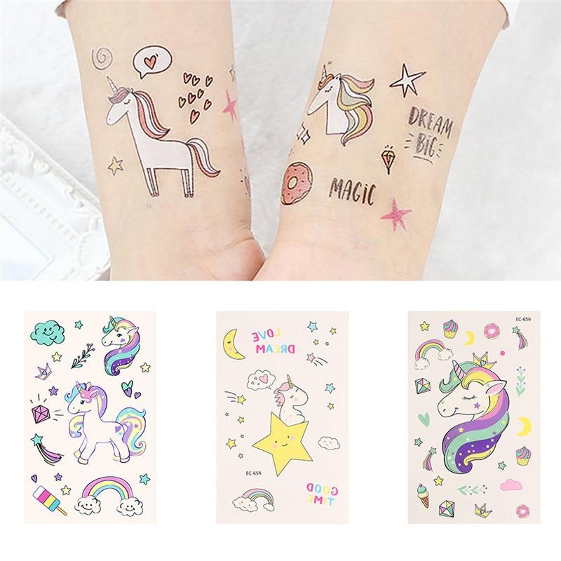 2018 NEW Cute Unicorn Temporary Tattoo Sticker Cloud Rainbow Waterproof Decals Body Art Star Moon Diamond Image Tattoo Sticker