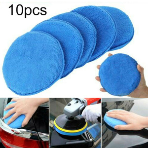 Image 1 - 10 pçs 5 Polegada 125mm almofadas de polimento de carro espuma de cera esponja limpeza de microfibra almofada de polimento