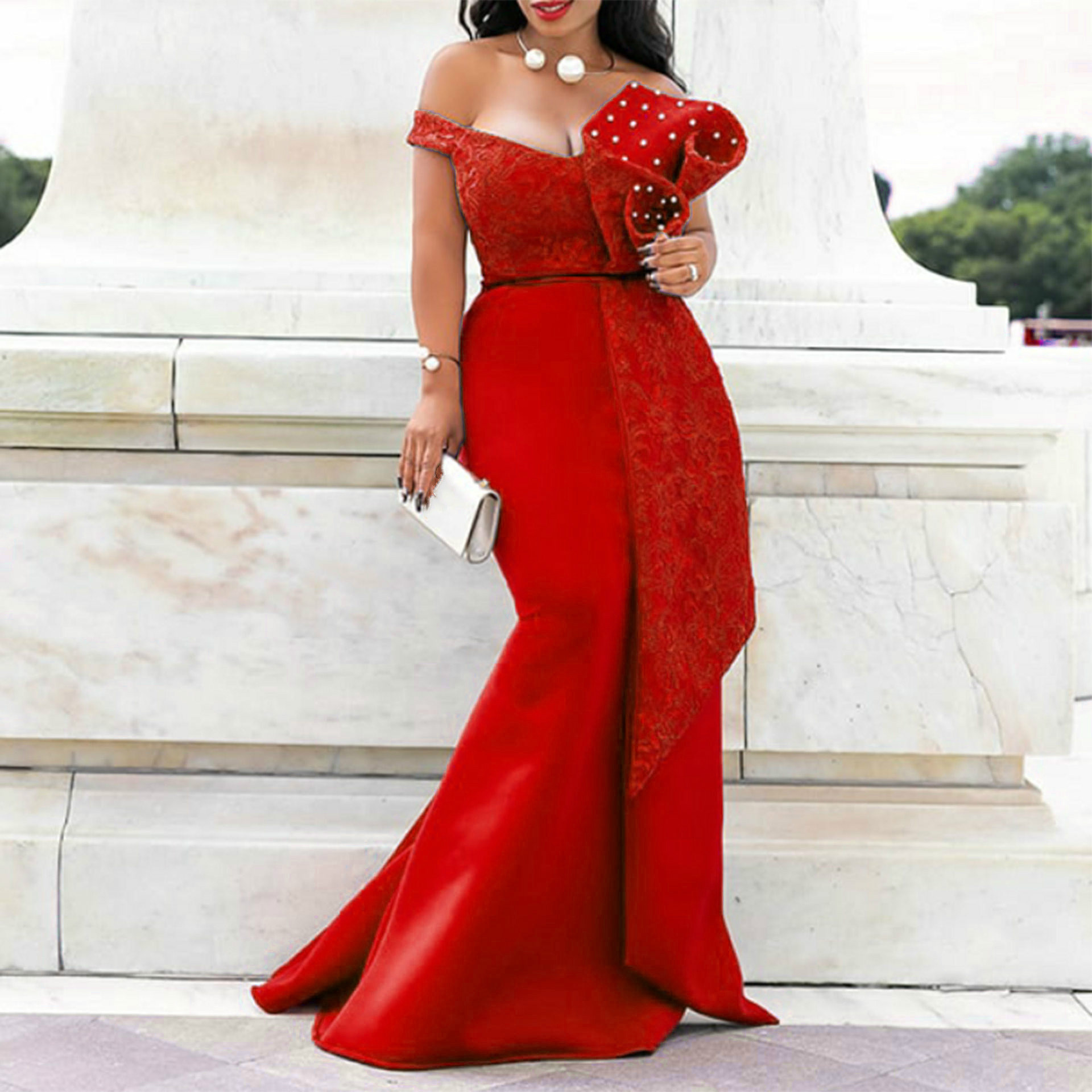 Christmas Dresses For Women Plus Size Red Blue Sexy Evening Floor Length Off The Shoulder Beading Sleeveless Pencil Maxi Dresses