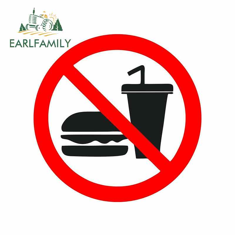 EARLFAMILY 13cm X 13cm Sticker Decal Vinyl Car Bike Bumber No Food Drink Prohibited Car Stickers Graphics