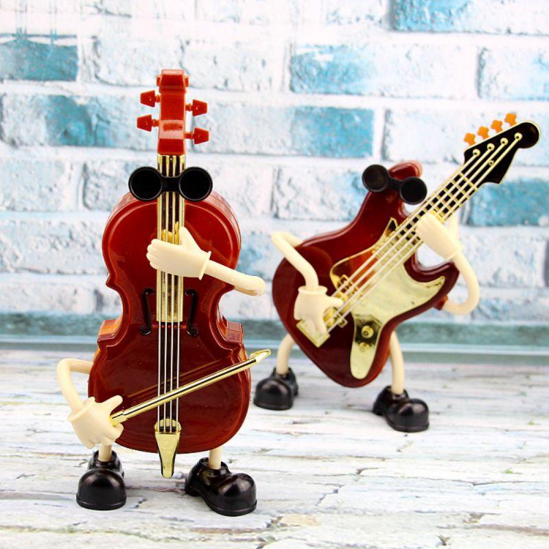 New Romantic Lover Gift Dynamic Guitar Music Box Creative Doll Model Plastic Craft Home Decor Swing Box Carrousel Music Boxes X