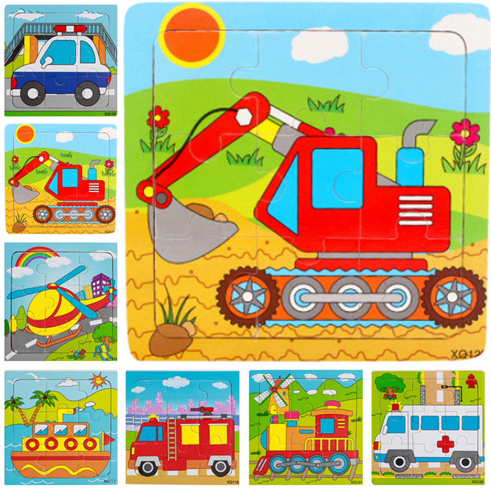 Wooden Jigsaw Puzzles Set 9Pcs Colorful Wooden Excavator Puzzles For Toddler Children Learning Educational Puzzles Toys