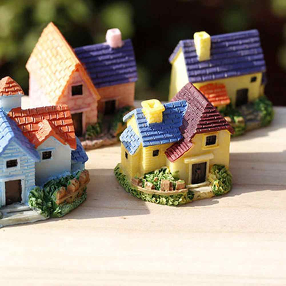 Fairy Garden Miniature Resin House Villa Micro Landscape Bonsai ตกแต่ง MINI House Villa Miniature CRAFT เด็กของเล่นของขวัญ