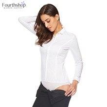 Fashion Women Bodysuits White Tops Long-Sleeved XL Blouses Work-Uniforms Turn-Down-Collar